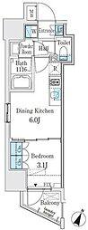 都営新宿線 神保町駅 徒歩3分の賃貸マンション 6階1DKの間取り