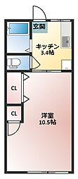 都賀ハウス[202号号室]の間取り