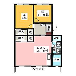 レジデンス四ッ枝[2階]の間取り