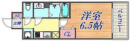 プレサンス神戸キュリオ 5階1Kの間取り