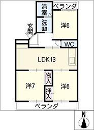 第2サンハイツ[1階]の間取り