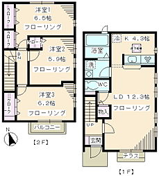 [テラスハウス] 神奈川県川崎市麻生区片平6丁目 の賃貸【/】の間取り