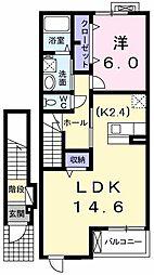 東京都武蔵村山市残堀1丁目の賃貸アパートの間取り