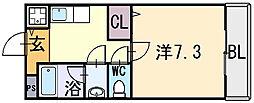 大阪府八尾市末広町3丁目の賃貸アパートの間取り