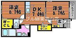 岡山県赤磐市岩田丁目なしの賃貸アパートの間取り