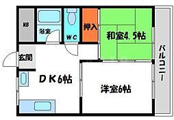 ロイヤル北斗 3階2DKの間取り