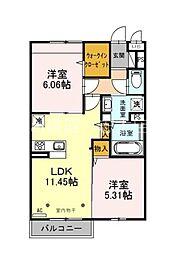 (仮)サンアネックスふじみ野II 3階2LDKの間取り