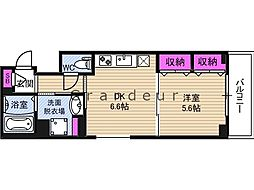 セントアミー鶴見 6階1DKの間取り