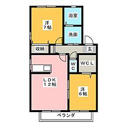 Villa Ryutaku II A B 2階2LDKの間取り