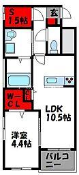 JR香椎線 酒殿駅 徒歩36分の賃貸マンション 2階1SLDKの間取り