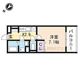 JR東海道・山陽本線 南草津駅 徒歩21分の賃貸アパート 2階1Kの間取り