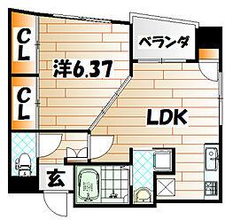 福岡県北九州市小倉北区木町2丁目の賃貸マンションの間取り