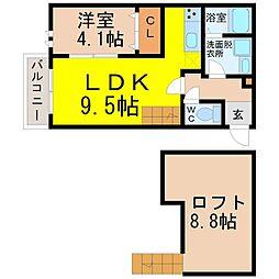 名古屋市営鶴舞線 庄内通駅 徒歩10分の賃貸アパート 1階1SLDKの間取り