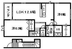JR阪和線 東岸和田駅 徒歩19分の賃貸アパート 2階2LDKの間取り