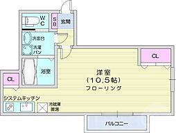 仙台市営南北線 台原駅 徒歩7分の賃貸アパート 1階ワンルームの間取り