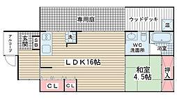 [テラスハウス] 兵庫県神戸市兵庫区東出町2丁目 の賃貸【/】の間取り