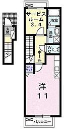 東京都八王子市北野町の賃貸アパートの間取り
