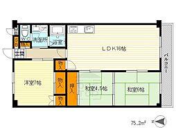 ライオンズマンション第6緑地公園[2階]の間取り