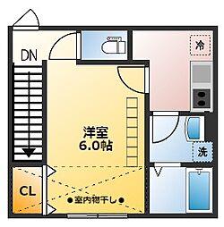JR中央線 東小金井駅 徒歩15分の賃貸アパート 2階1Kの間取り