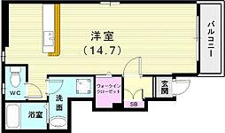 OMA永井 1階ワンルームの間取り