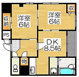 堺フェニックス[4階]の間取り