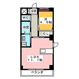 ディアコート下伊福[4階]の間取り