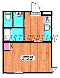 京王線 幡ヶ谷駅 徒歩5分の賃貸アパート 1階1Kの間取り