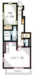 西武新宿線 沼袋駅 徒歩4分の賃貸アパート 1階1LDKの間取り