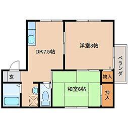 京都府木津川市山城町上狛の賃貸アパートの間取り
