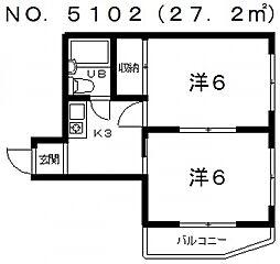 第5ひかりハイツ[6階]の間取り