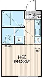 神奈川県川崎市多摩区生田7丁目の賃貸アパートの間取り