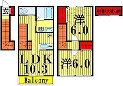 東京都足立区鹿浜3丁目の賃貸アパートの間取り