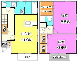 [テラスハウス] 東京都西東京市北町5丁目 の賃貸【/】の間取り