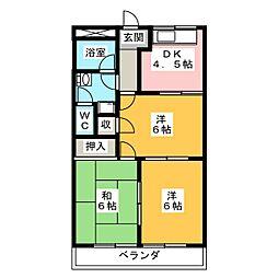 レジデンスK&O[2階]の間取り