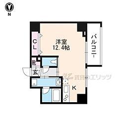 JR山陰本線 丹波口駅 徒歩10分の賃貸マンション 3階ワンルームの間取り
