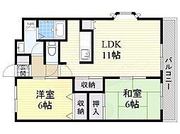 Osaka Metro谷町線 大日駅 徒歩16分の賃貸マンション 3階2LDKの間取り