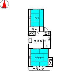 コーポ千刈B[1階]の間取り