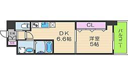 クローバーグランツ阿倍野[9階]の間取り