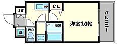 フォーリアライズ阿波座ウエスト 9階1Kの間取り