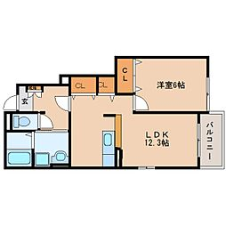 静岡県焼津市三和の賃貸アパートの間取り