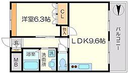 エスポワールアイ 2階1LDKの間取り