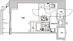 都営大江戸線 若松河田駅 徒歩4分の賃貸マンション 12階1Kの間取り