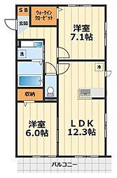 アメニティー大和市下鶴間新築アパート[3階]の間取り