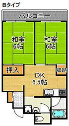 Aグリーンコーポ北加賀屋[3階]の間取り