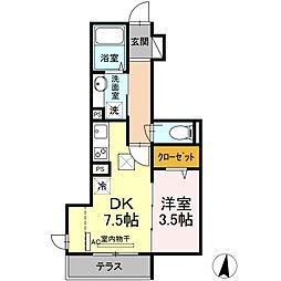 小田急小田原線 登戸駅 徒歩15分の賃貸アパート 1階1DKの間取り