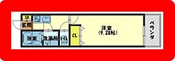 京阪本線 萱島駅 徒歩3分の賃貸マンション 1階1Kの間取り