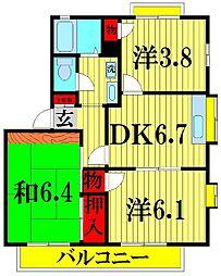 パークサイドマンション[103号室]の間取り