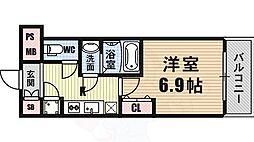 ファーストレジデンス大阪BAY SIDE 11階1Kの間取り