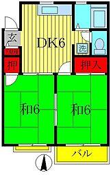 千葉県松戸市五香2丁目の賃貸アパートの間取り