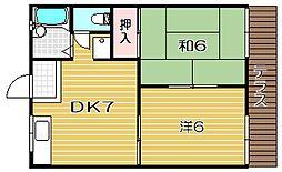 サツキハイツA棟[102hb号室]の間取り